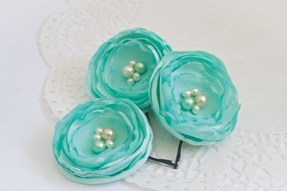 Mint Satin Lollipop Flower Hair Pins (5 pcs)  - RESERVED FOR COURTNEY