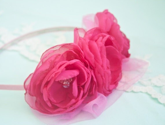 Hot pink Chiffon Flower Headband - Fuchsia - Chiffon Hair Flowers - Flower Girl - Photo Prop - Girl Headband - Adult Headband
