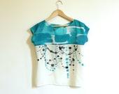 silk hand painted shirt.  Indigo Ikat and Dots.  sample. one of kind