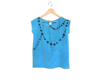 hand painted SILK top.  INK BEADS on light blue.  made to order