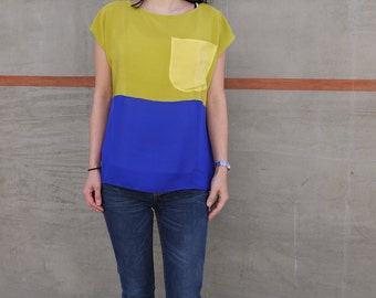SALE. Hand dyed Silk top. Chartreuse, blue and yellow color block Tee READYMADE.