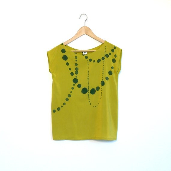 silk hand painted blouse.  INK BEADS on chartreuse.  made to order.
