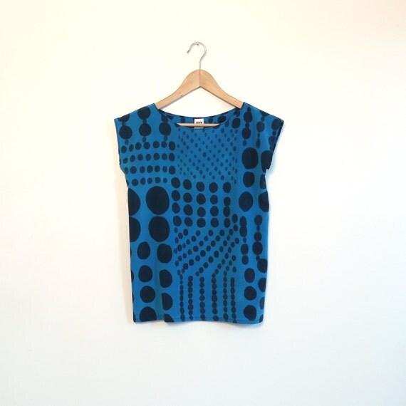 Blue Patch work Dots // hand painted silk shirt