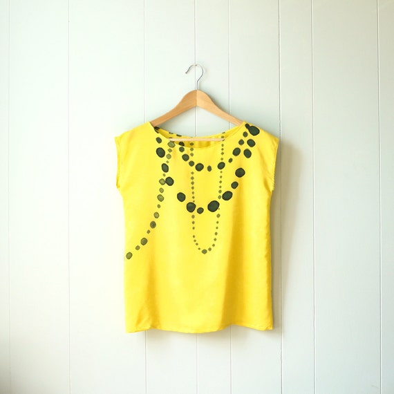 Sample sale // silk hand painted blouse.  INK BEADS on YELLOW. ready to ship