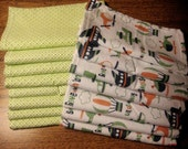 16 Flannel Cloth Wipes/Wash Cloths/Napkins - Planes and Helicopters
