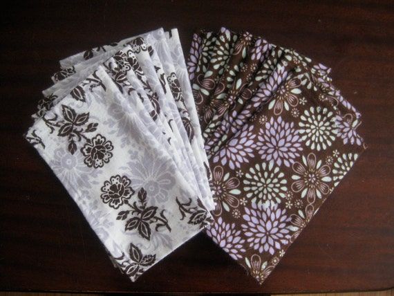 16 Flannel Cloth Wipes/Wash Cloths/Napkins - Brown and Purple Floral Designs