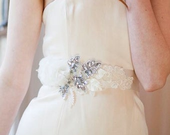Sparkle and Blossom Corsage Sash