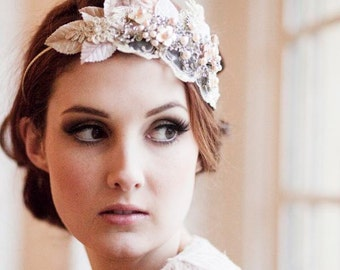 Vintage Milliner's Velvet Leaf Bridal Headdress