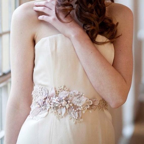 Vintage Floral Crystal and Pearl Bridal Sash