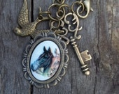 Equestrian Jewelry Vintage German Horse Cabochon Pendant Aged Stamped Bronze Setting Bird Key