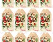 Crazy Christmas SALE PRICE Vintage Santa Gift Tag -  Instant Download santa father christmas st nicholas christmas tree Print-Cut-Create