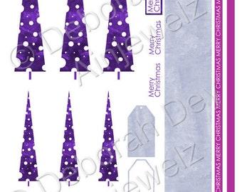 Christmas tree, tags, ribbons, greetings embellisment sheet for cardmaking, scrapbooking.  Instant Digital Download