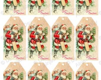 Vintage Santa Gift Tag, Instant Download, Christmas Gift Tags, Father Christmas Tags, Christmas tree tags, craft tags, tags printable,
