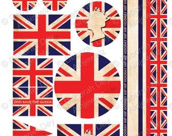 Vintage Union Jack Brittish Queen Embelishment Collage Sheet - INSTANT DIGITAL DOWNLOAD
