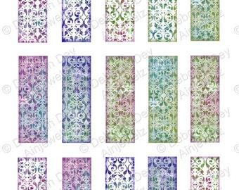 "Victorian Elegance  microscope glass slide collage backgrounds, 1"" x 3"" altered art vintage ephemera - INSTANT DIGITAL DOWNLOAD"