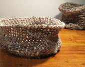 Neutral Brown and Cream Crochet Bowl