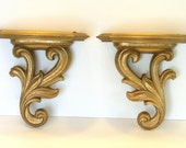 Vintage Set of Two Small Hollywood Regency Gold Gilt Shelves Sconces Pair By Syroco Wood