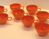 Vintage Coffee Tea Cups Set of 7 Melamine by Oneida Premier Coral Melon Tangerine Orange plus creamer and sugar