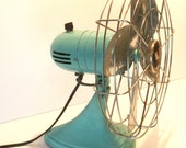 Vintage Portable Oscillating Desk Fan by Sears and Roebuck Aqua Teal Turquoise