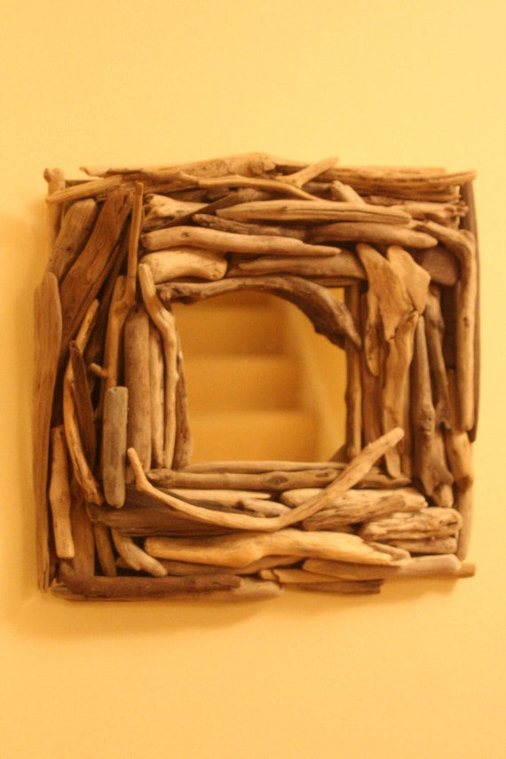 Square Lake Michigan Driftwood Framed Mirror