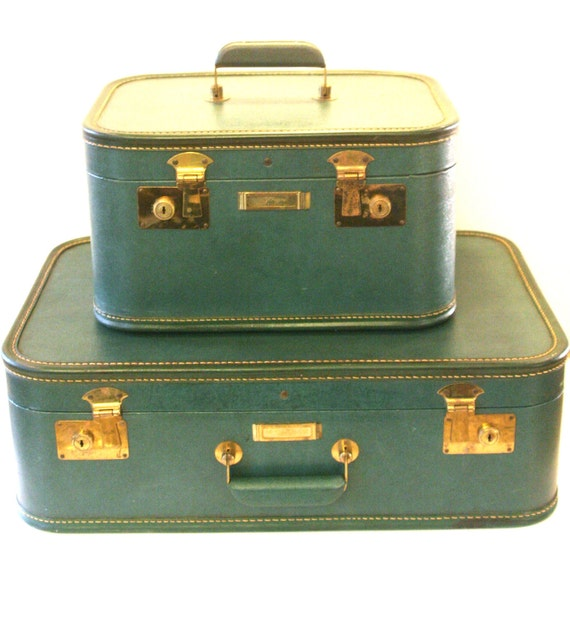 Vintage Luggage Set Suitcase and train case in Emerald Green Dark Teal
