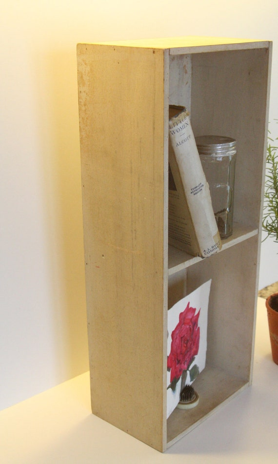 Vintage Chippy Shabby White Wooden Book Shelf Cubby Box for cottage decor