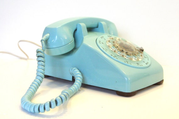 Vintage Rotary Dial Turquoise Telephone Made by Western Electric for Bell Blue