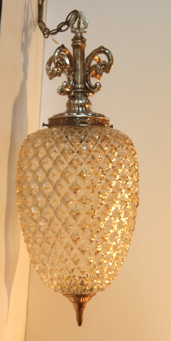 Vintage Pendant Light Fixture Ceiling Swag Lamp Glass And