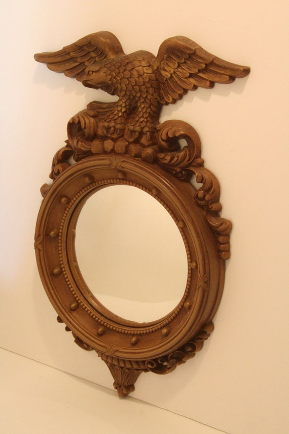 Vintage Federal Style Convex Mirror With Eagle Bullseye
