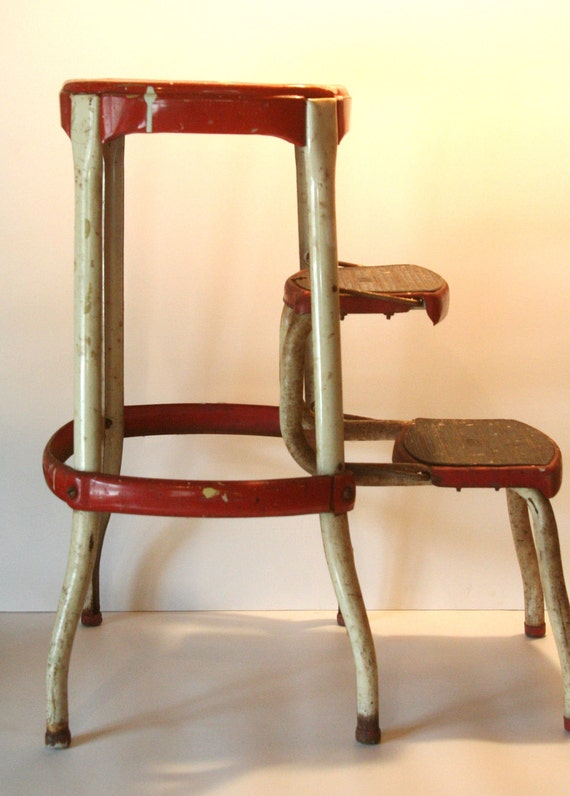 Vintage Cosco RED and WHITE chippy shabby cottage step stool industrial barstool