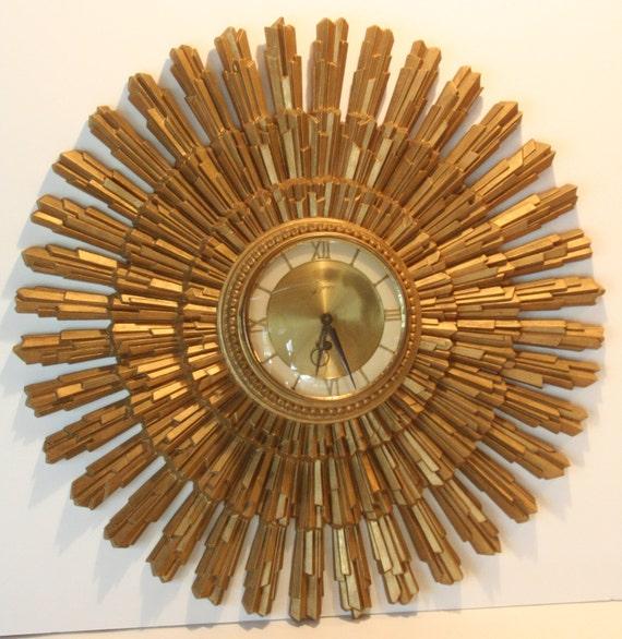 Sale Vintage Atomic Gold Large Syroco Starburst Clock Sunburst