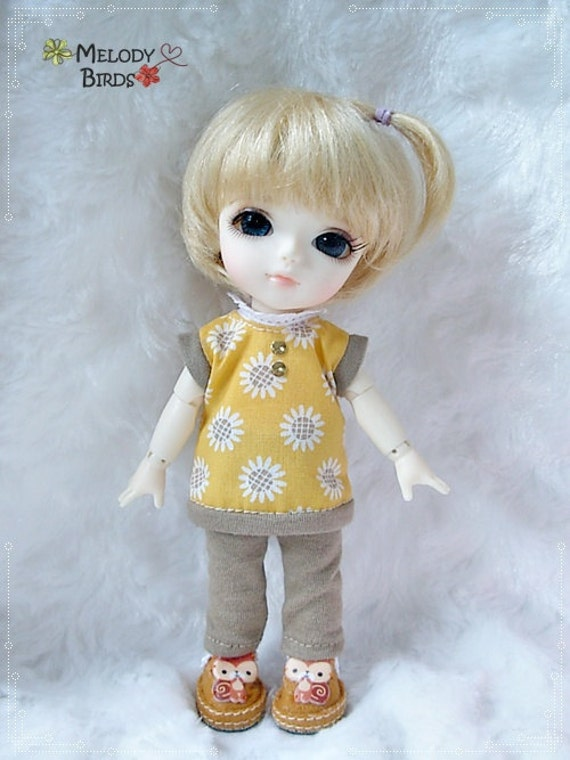 Sunflower Brown Set / Outfit for Lati yellow, PukiFee