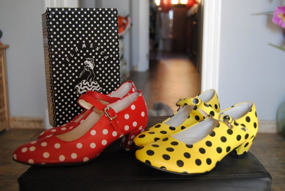 Traditional Spanish Flamenco Shoes/ Polka dots