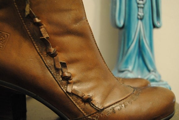 "Vintage Brown Leather Victorian Boots ""Ties and Flowers"""
