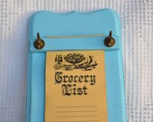 Shabby Chic Aqua Vintage Memo List Holder Upcycled - Cottage/ Beach House or Modern Decor