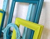 RESERVED  Lime Green Aqua Teal Turquoise Ornate Frames set of 6 Upcycled Painted Modern Frame set bedroom decor