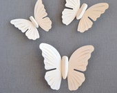 Wall Butterflies Heirloom White Upcycled Painted Wall Decor Metal 3D Butterfly set of 3