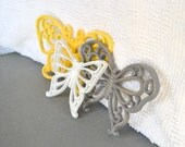 Wall Butterflies Yellow Grey White  Upcycled Painted Wall Decor Butterfly set of 3