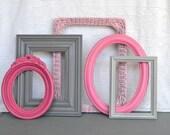 Pinks, Greys  Painted Frames Set of 5 - Upcycled Frames Girls or Nursery bedroom decor
