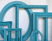 Teal Turquoise Ornate Painted Frames Set of 6- Upcycled Ovals Ornate Frames for Beach house, modern bedroom gallery wall