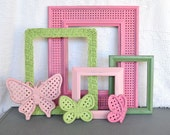 Pinks Greens Frames set of 4 plus Butterflies.... Upcycled Frame set Great for Nursery, Little Girl Bedroom or Bathroom