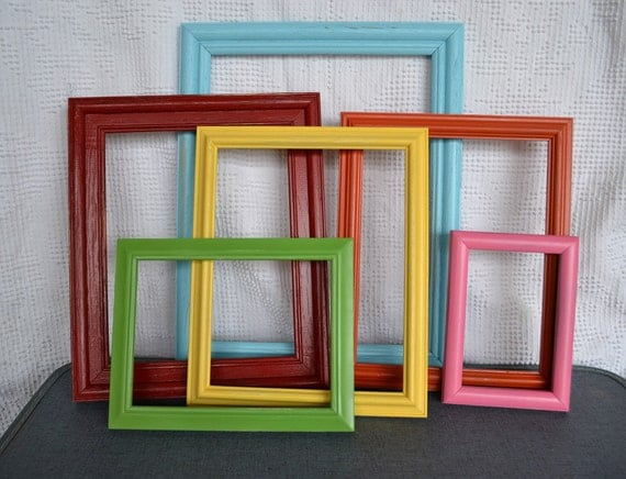 bright frames set of 6 upcycled painted frame collection great for gallery wall
