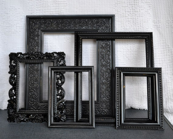 black ornate gallery wall painted frame set of 5 upcycled. Black Bedroom Furniture Sets. Home Design Ideas