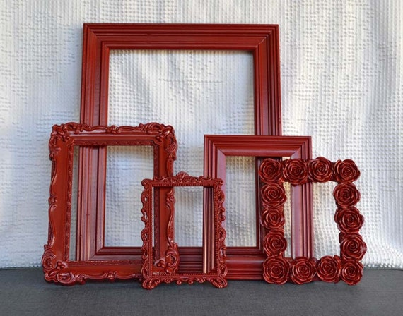 Red Ornate Painted Frame Set of 5 - Upcycled frames.. great for Gallery Wall or Christmas Decor