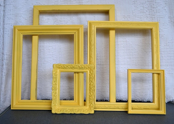 Shabby Chic Painted Frame Set of 5 - Yellow.. Upcycled frames