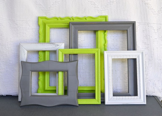 Lime Green, Grey White Frames Set of 6 - Upcycled Frames Modern  Bedroom Decor