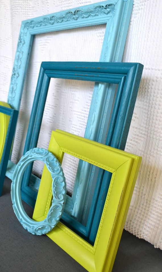 Reserved lime green aqua teal turquoise ornate frames set of - Turquoise and lime green decor ...
