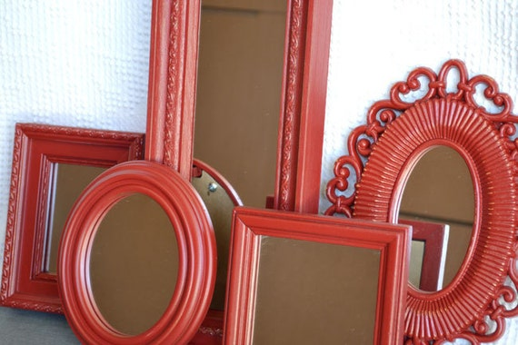 Ornate Painted Mirror Set of 5 - Upcycled framed RED mirrors.. great for Gallery Wall or Bedroom