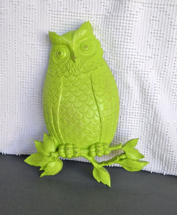 You CHOOSE Color  Wall Owl - Upcycled Vintage Owl Wall Hanging bright funky retro modern owl