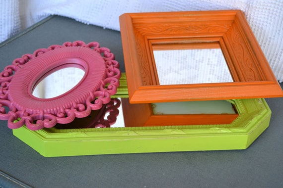 Lime Green Pink Orange Upcycled Bright Mirror collection.... Painted Modern Miror Set of 3 Playroom Teen Girls Bedroom